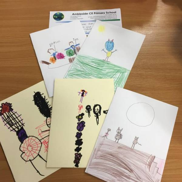 Thank you cards from Ambleside Primary School - we think we can spot the mouse!